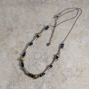 Mixed metal and Sterling silver bead necklace